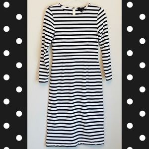 J. Crew Midi Dress Black + White Stripes XS Size 2
